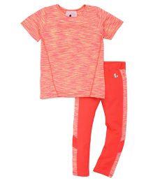 Tyge Slub Tee With Sporty Leggings - Coral