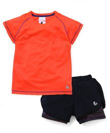 Tyge Sporty Tee & Knitted Shorts With Undershorts - Coral