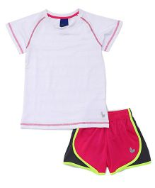 Tyge Sporty Top And Shorts With Underpants - White