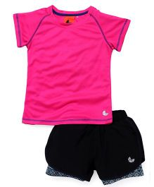 Tyge Sporty Tee & Knit Shorts With Undershorts - Pink