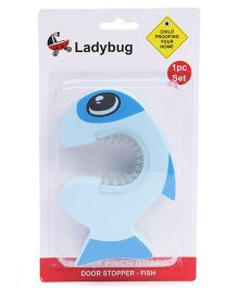 Ladybug Finger Pinch Guard Door Stopper Fish Shape - Blue