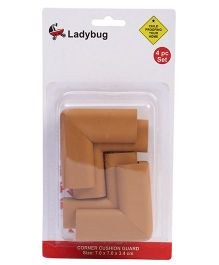 Ladybug L Shape Super Soft Corner Guard Brown - Pack Of 4