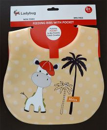 Ladybug Feeding Crumb Catcher Bib With Pocket Giraffe Design - Beige