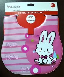 Ladybug Feeding Crumb Catcher Bib With Pocket Rabbit Design - Pink