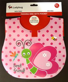 Ladybug Feeding Crumb Catcher Bib With Pocket Butterfly Design - Pink