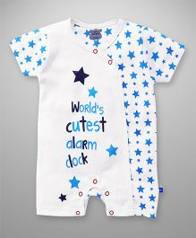 Mini Taurus Half Sleeves Romper Star Print - Blue White