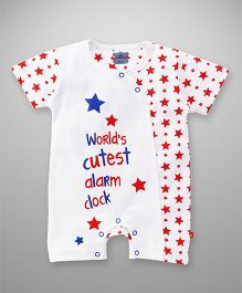 Mini Taurus Half Sleeves Romper Star Print - Red White