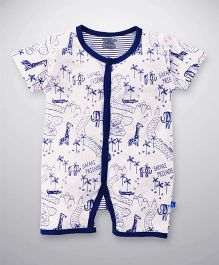 Mini Taurus Short Sleeves Romper Safari Friends Print - Navy Blue White