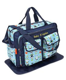 Mother Bag With Changing Mat Allover Robot Print - Navy Blue