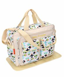 Mother Bag With Changing Mat Allover Airplane Print - Cream