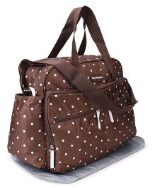 Mother Bag With Changing Mat Dot Print - Dark Brown