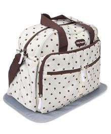 Mother Bag With Changing Mat Dot Print - Off White Brown