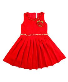 Hunny Bunny Sleeveless Pleated Frock Floral Applique - Bright Red
