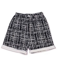 Pikaboo Checks Pattern Shorts - Black White