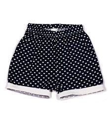 Pikaboo Heart Print Shorts - Black