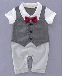 Petite Kids Coat Applique With Contrast Bow Romper - Grey