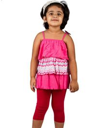 Pikaboo Singlet Ruffle Top With Leggings - Fuchsia Red