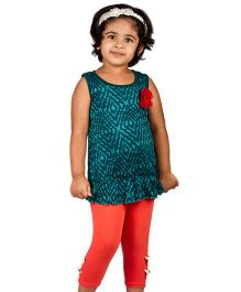 Pikaboo Sleeveless Top With Leggings - Green Orange