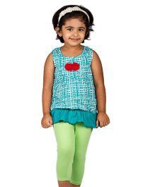Pikaboo Sleeveless Top With Floral Applique - Green