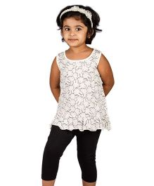 Pikaboo Sleeveless Top And Leggings Set Bunny Print - White Black