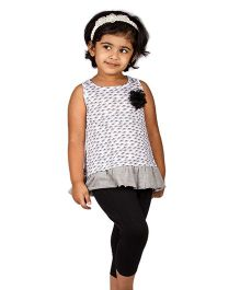 Pikaboo Sleeveless Top And Leggings Set With Floral Applique - White Black