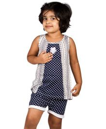 Pikaboo Sleeveless Top And Shorts Set Hearts Print - Blue