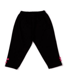 Pikaboo Full Length Solid Color Leggings With Floral Buttons Shape - Black