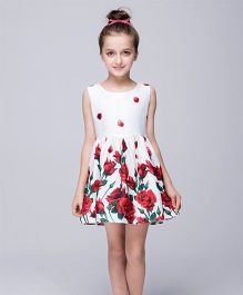 Wonderland Rose Print Dress - White