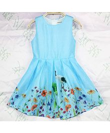 Wonderland Floral Print Dress - Blue