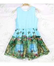 Wonderland Butterfly & Flower Print Dress - Blue