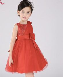 Wonderland Stone Work Bodice Dress With A Bow - Red