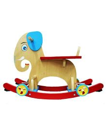 Emob 2 in 1 Wooden Baby Elephant Rocking / Ride On Toy - Multicolor