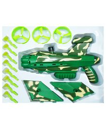 Emob 2 In 1 Real Action Shooting Flamestrike Military Gun With luancher Wheel And Suction Dart Bullet - Green