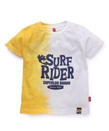 Spark Half Sleeves T-Shirt Surf Rider Print - Yellow White
