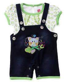 Wow Girl Dungaree Style Romper With T-Shirt Kitty Embroidery & Heart Print - White Blue Green