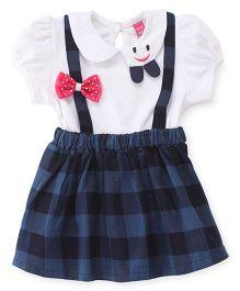 Wow Girl Short Sleeves Frock Bow & Checks Print - White