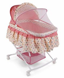 Baby Cradle With Mosquito Net - Cream Pink