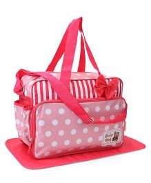 Polka Dot & Stripe Diaper Bag With Changing Mat Bow Applique - Red White