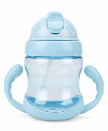 Twin Handle Sipper Cup With Straw - Aqua Blue