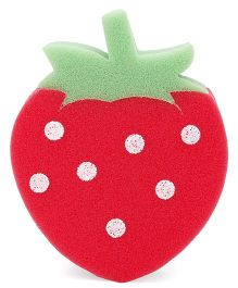 Baby Bath Sponge Strawberry Shape - Red Green