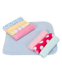 Babyhug Wash Clothes Printed Pack of 8 - Blue Multicolor