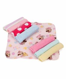 Babyhug Terry Wash Clothes Printed Pack of 8 - Baby Pink Multicolor