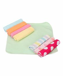 Babyhug Wash Clothes Printed Pack of 8 - Green Multicolor