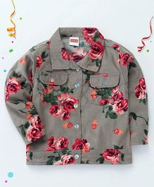Babyhug Full Sleeves Jacket Floral Printed - Grey