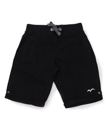 Parrot Crow Knee Length Shorts With Fancy Draw String - Black