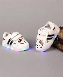 Little Maira LED Cartoon Printed Velcro Shoes - White