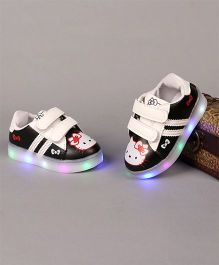 Little Maira LED Cartoon Printed Velcro Shoes - Black