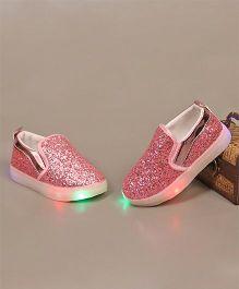 Little Maira LED Sequin Slip On Shoes - Pink