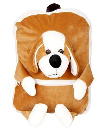 Deals India Kids Plush School Bag Puppy Face Brown & White - 14 Inches