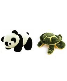 Deals India Panda And Turtle Soft Toy - Green Black White
